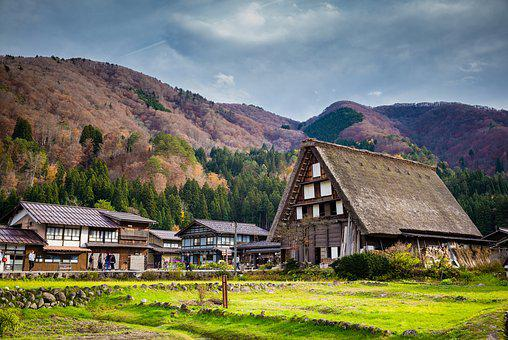 Village, House, Roof, Tree, Grass, Green, Bamboo
