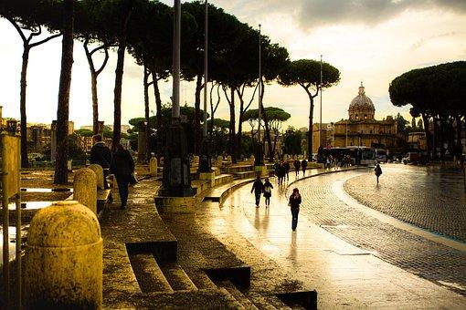 Rome, Rain, Street, People, Sunset, Trees, City, Road