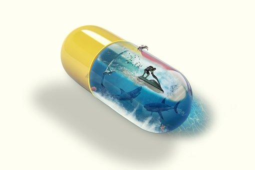 Fantasy, Pill Capsule Medicine, Water Skiing, Shark