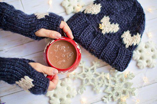 Winter, Mittens, Hat, Snow, Cozy, Hot Chocolate