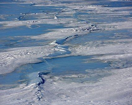 Winter, Frozen River, Ice Cracks, Great River, Ice