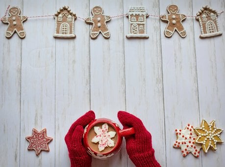 Mittens, Hot Chocolate, Red, Winter, Christmas, Cozy