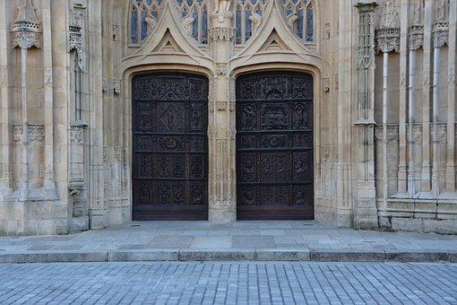Door, Wood, Cathedral, Sculpture, Limoges