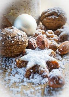 Zimtstern, Walnut, Almonds, Christmas Bauble, Nuts
