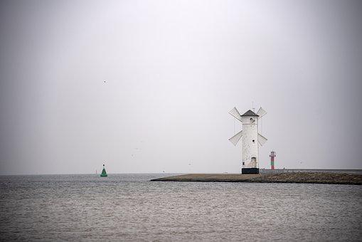Sea, Lighthouse, Water, Nature, Cloud, Baltic, Poland