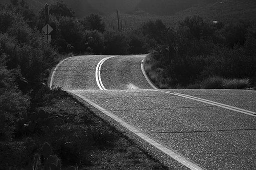 Black And White, Road, Morning, Evening, Shiny