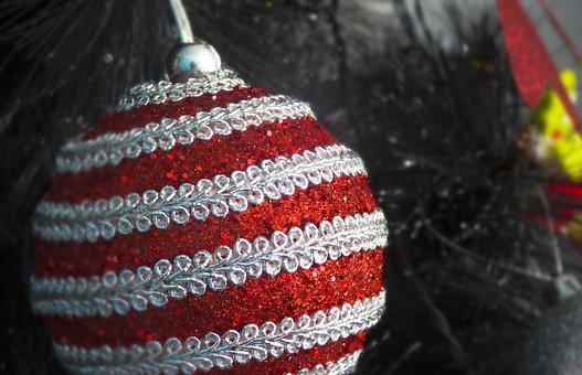 Christmas, Balls, Red, Brightness, Tree, Decoration