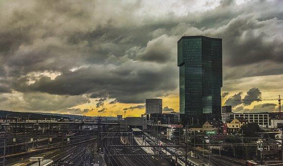 Building, Rail, Sky, Train, Buildings, Color, Clouds