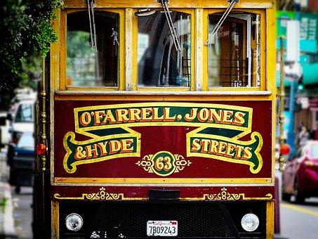 Tram, Cable Car, Usa, California, San Francisco