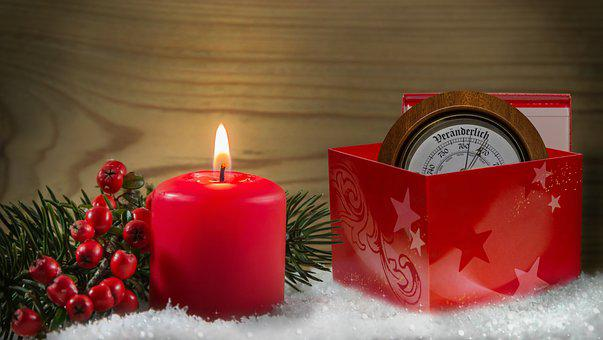 Candle, Red, Candlelight, Snow, Gift, Cardboard, Wood