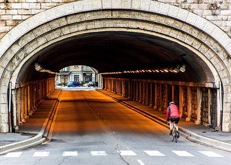 Tunnel, Cyclist, Riding A Bike, Roadway, Crosswalk