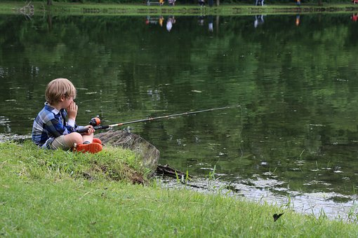 Child Fishing, Child By Pond, Fishing, Child In Nature