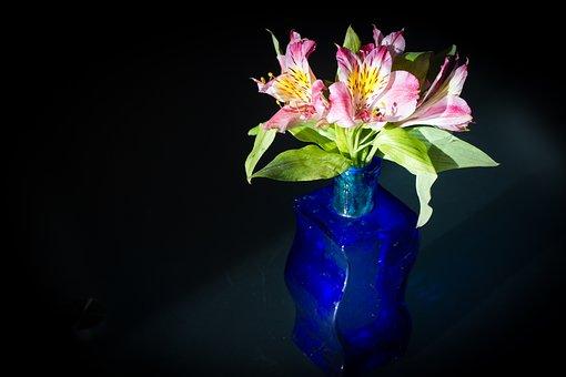 Flowers, Vase, Deco, Bouquet, Pink, Living Room, Glass
