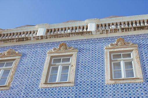 Facade, House, Building, Tiles, Blue, Azulejos, Lisbon