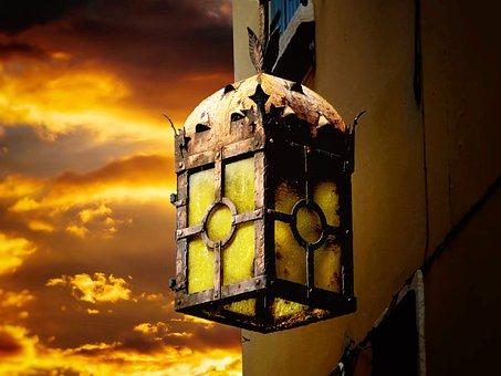 Lantern, Hauswand, Abendstimmung, Old, Historically
