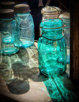Mason Jar, Glass, Light, Aqua, Vintage, Antique