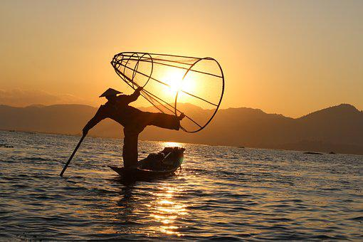 Fisherman, The Fishermen, Sunset, Mountain, Lake