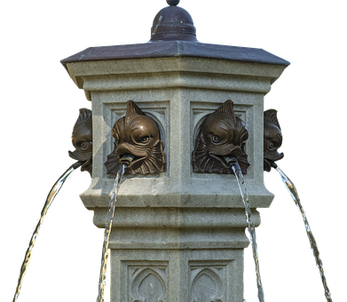 Fountain, Stone, Artwork, Water, Old, Isolated
