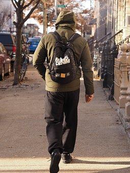 Walking, Stroll, Pavement, New York, Commuter, Backpack