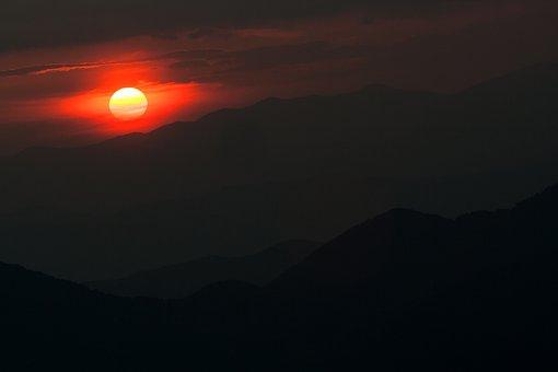 Sunset, Sun, Sky, Landscape, Twilight, Sunrise, Red