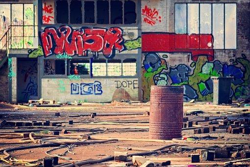 Lost Places, Hall, Grafitti, Factory, Pforphoto, Ruin