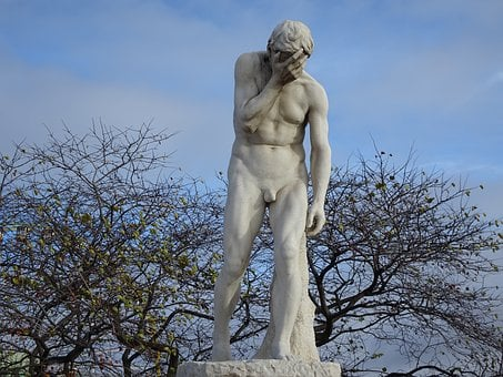 Sculpture, Statue, Naked Man, Despair, Misery