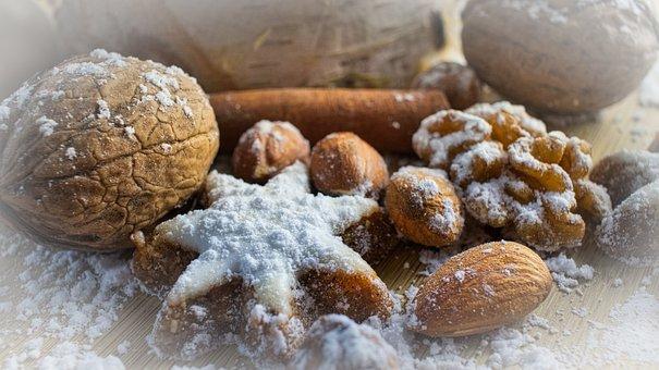 Zimtstern, Walnut, Almonds, Nuts, Snak, Greeting Card