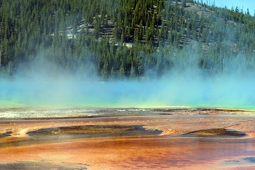 Steam Vapors Over Prismatic Pool, Thermal, Color