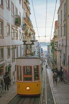 Lisbon, Lisboa, Portugal, Tram, Train, Gleise