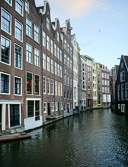 Amsterdam, Canal, Channel, Houses, Architecture, Travel