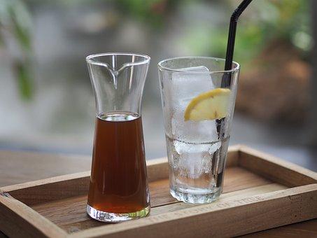 Lemon Tea, Water, Glass