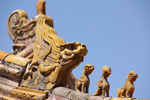 China, Beijing, Forbidden City, Detail, Roof, Yellow