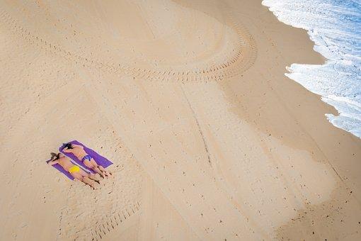 Beach, Two, Pair, Men, Tourists, Swim, Sea, Water