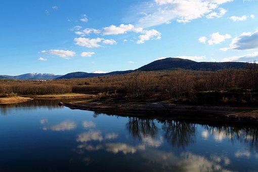 Lake, Reflection, Landscape, Clouds, Sky, Blue, Nature