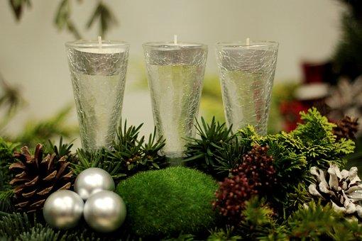 Christmas, Candles, Christmas Balls, Pine Green, Moss