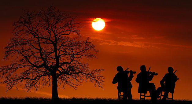 Sunset, Concert, Violinists, Music, People, Silhouette