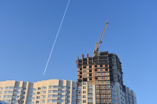 Construction, Residential, House, Crane, Sky, Track