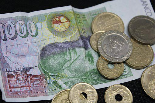Money, Pesetas, Spain, Currency, Coins, Payment