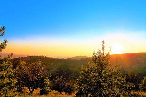Sunset, Land, Nature, Forest, Mountain, Horizon, Sky