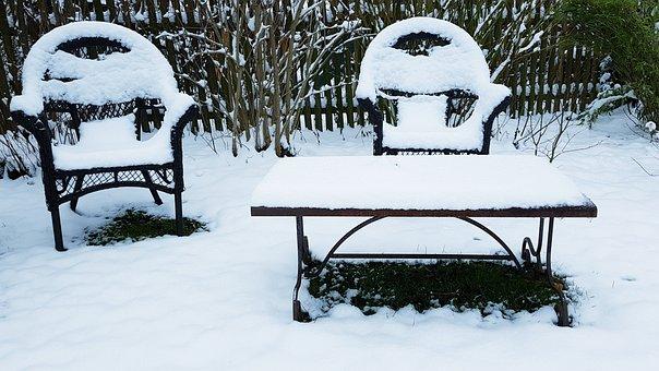 Snow, Snowed In, Garden Chair, Table, Garden, Winter