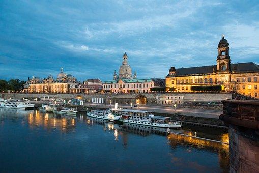 Dresden, Germany, Saxony, Evening, Panorama