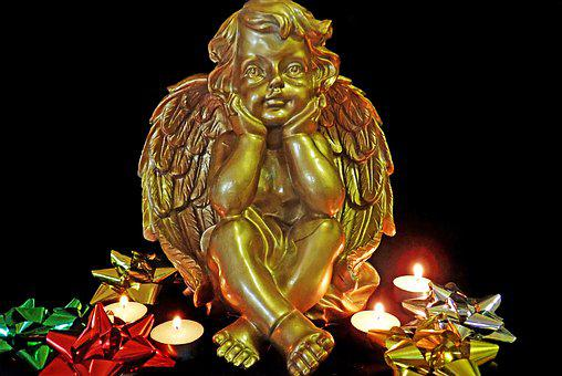 Angel, Gold, Candlelight, Christmas, Decoration