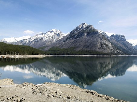 Reflection, Lake, Mountains, Landscape, Sky, Blue, Calm
