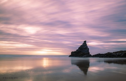 Sea, Sky, Rock, La, Landscape, Water, Sunset, Rocks