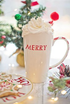 Hot Chocolate, Whipped Cream, Merry, Christmas, Cocoa