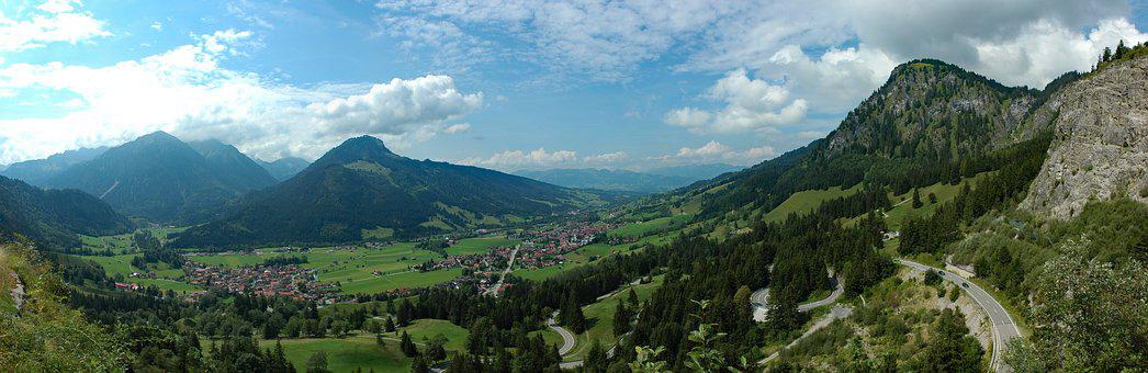 Germany, Allgäu, Bad Hindelang, Bavaria, Panorama