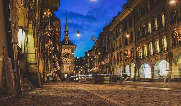 City, Night, Tower, Street, Pavers, Paved, Clock