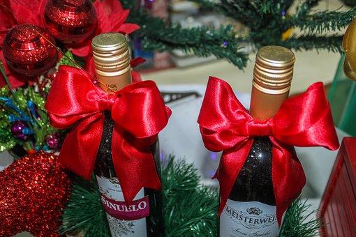 Christmas, Wine, Decoration, Red, Seasonal, Gifts
