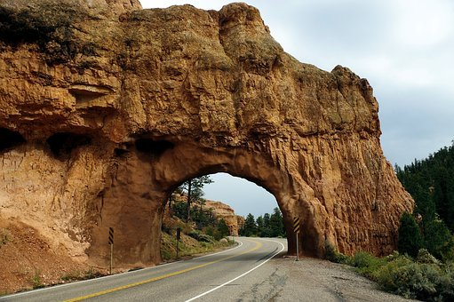 Red Canyon Tunnel, Tunnel, Road, Sandstone, Canyon, Red