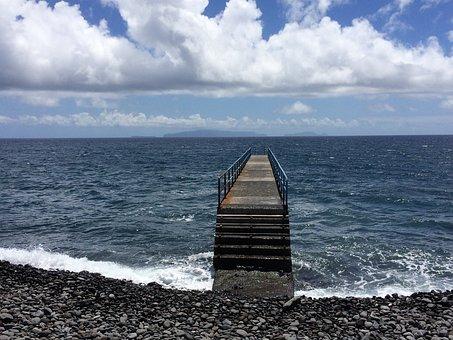 Sea, Bridge, Clouds, Blue, Water, Surf